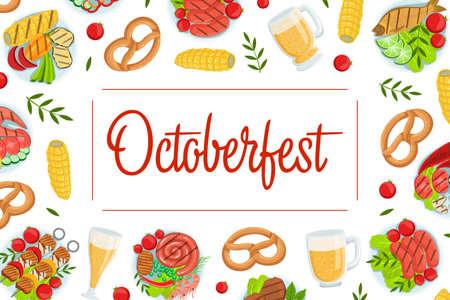 Oktoberfest Banner Template, Beer Festival, Traditional German Food Pattern Vector Illustration