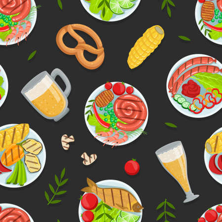 Traditional German Cuisine Dishes Seamless Pattern, Oktoberfest Festival Backdrop, Wallpaper, Packaging, Textile Design Vector Illustration