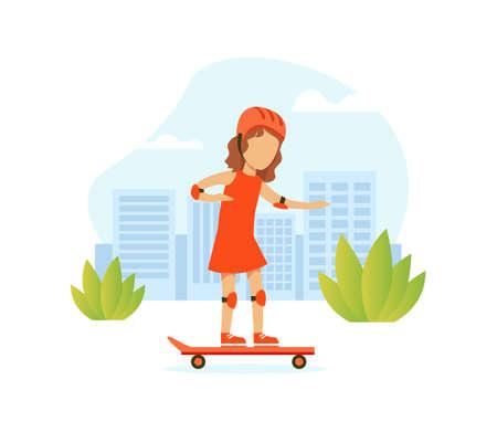 Cute Girl Riding Skateboard on City Street, Outdoor Morning Workout Vector Illustration Illusztráció