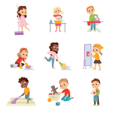 Funny Children Doing Housecleaning Mopping the Floor and Washing Dishes Vector Set