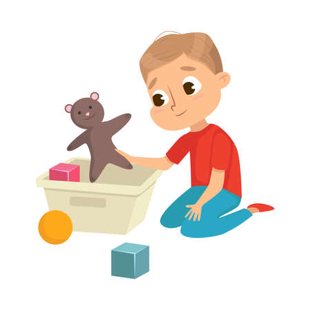 Little Big-eyed Boy Picking up Toys in Box Vector Illustration