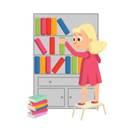 Little Girl Putting Books on Bookcase or Bookshelf Vector Illustration Vektorové ilustrace