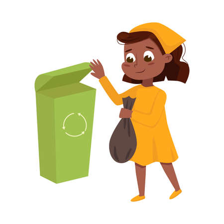Little Girl Engaged in Housework Taking out the Trash Vector Illustration