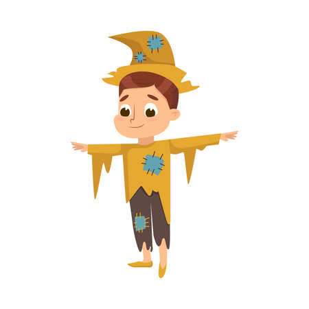 Funny Boy Dressed in Ragged Scarecrow Halloween Costume Vector Illustration 向量圖像
