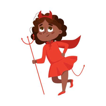 Funny Girl Dressed in Halloween Devil Costume Vector Illustration 向量圖像