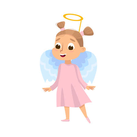 Cute Girl Dressed in Halloween Angel Costume with Nimbus Vector Illustration