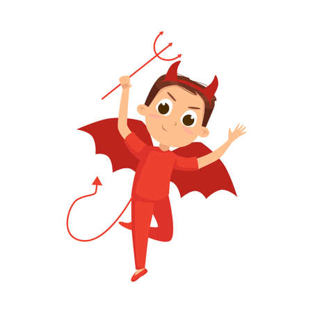 Cute Boy Dressed in Halloween Dracula Devil Costume with Horns Vector Illustration 向量圖像