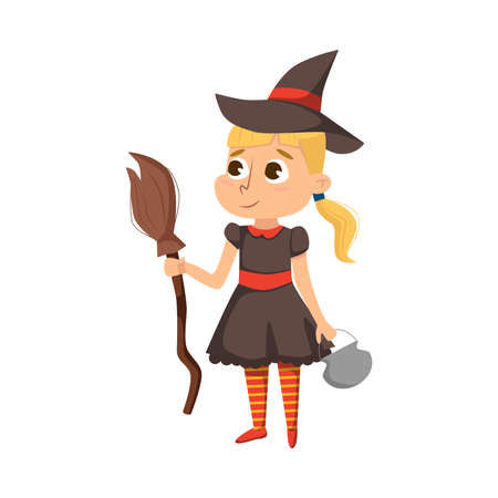 Smiling Girl Dressed in Halloween Witch Costume Vector Illustration