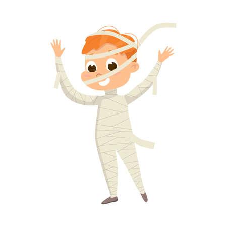 Smiling Boy Dressed in Halloween Mummy Costume Vector Illustration