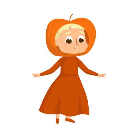 Smiling Girl Dressed in Halloween Pumpkin Costume Vector Illustration