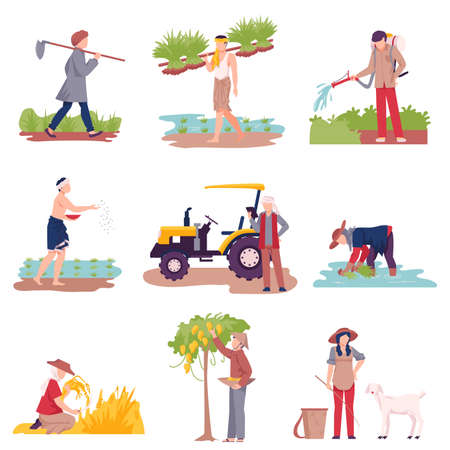 Asian Farmers Picking Agricultural Crops and Cultivating Soil Vector Illustration Set
