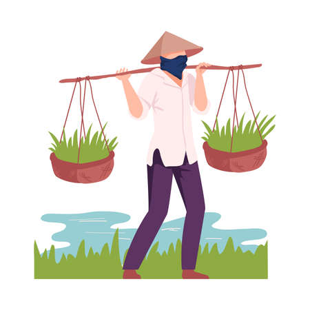 Asian Male Farmer in Conical Hat Carrying Rice Plant in Wicker Basket Vector Illustration