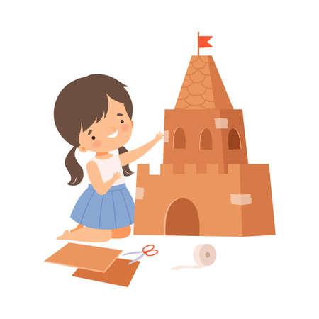 Little Girl Showing Handcrafted Cardboard Castle Vector Illustration