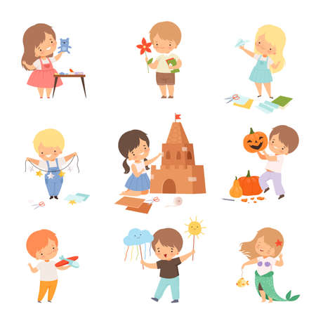 Cheerful Kids Showing Handcrafted Items and Drawing Vector Set