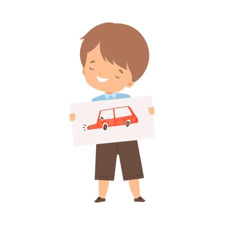 Smiling Boy Showing Paper with Pictured Car Vector Illustration