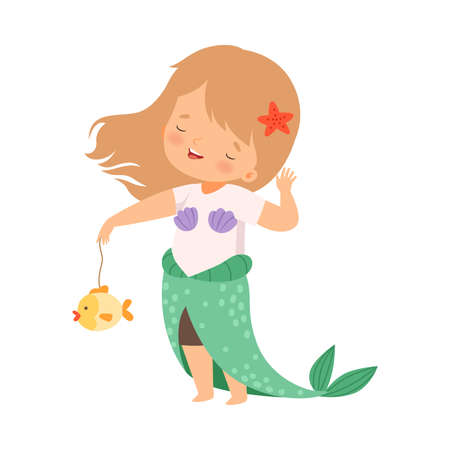 Cheerful Girl Dressed in Mermaid Costume Showing Handcrafted Paper Fish Vector Illustration