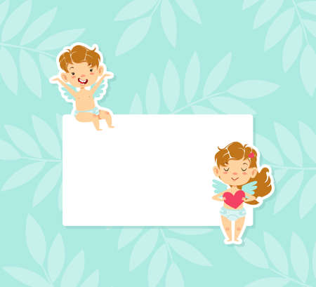 Cute Little Baby Angels with Blank Banner, Adorable Boy and Girl Cherubs in Heaven Cartoon Vector Illustration.