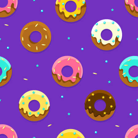 Glazed Donuts Seamless Pattern, Colorful Sweet Desserts, Textile, Wallpaper, Wrapping Paper, Background Cartoon Vector Illustration