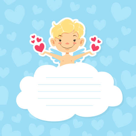 Cute Baby Angel on Cloud with Space for Text, Adorable Little Cupid in Heaven with Hearts in his Hands Style Vector Illustration.
