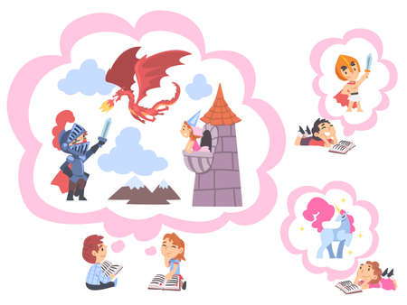 Children Reading Fairy Tail Fantasy Books, Kids Imagination Concept, Fairy Tales, Stories, Discoveries Cartoon Style Vector Illustration  イラスト・ベクター素材
