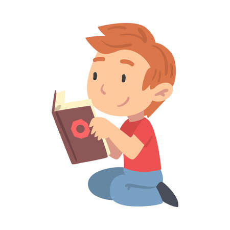 Curious Boy Reading Book, Young Fan of Literature, Fairy Tales, Stories, Discoveries Cartoon Style Vector Illustration