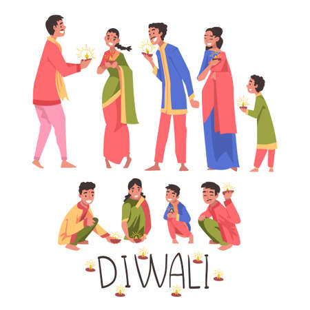 Diwali Hindu Holiday, Indian People in Traditional Clothes Celebrating Light Festival Cartoon Style Vector Illustration