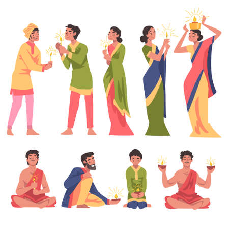 Diwali Hindu Holiday, Indian People in Traditional Clothes Celebrating Light Festival with Glowing Candles Cartoon Style Vector Illustration