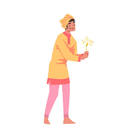 Indian Man in Traditional Clothes with Glowing Candle in Candlestick, People Celebrating Diwali Hindu Holiday Light Festival Cartoon Style Vector Illustration