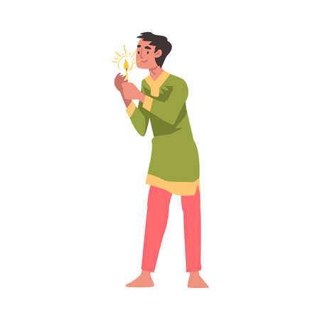 Indian Young Man in Traditional Clothes with Candle, People Celebrating Diwali Hindu Holiday Light Festival Cartoon Style Vector Illustration Ilustracja