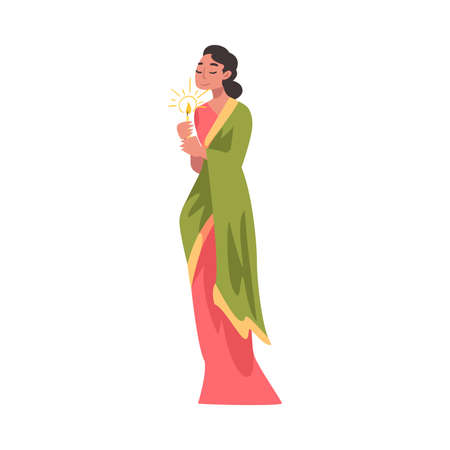 Indian Young Woman in Traditional Clothes with Candle, People Celebrating Diwali Hindu Holiday Cartoon Style Vector Illustration Ilustracja