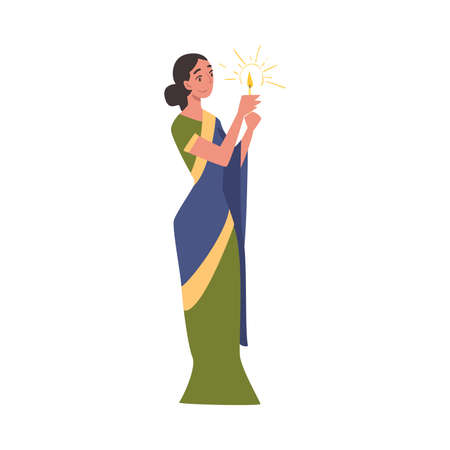 Beautiful Indian Woman with Candle in her Hands, People Celebrating Diwali Hindu Holiday Cartoon Style Vector Illustration