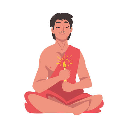 Indian Man in Traditional Clothes with Candle Sitting in Lotus Position, People Celebrating Diwali Hindu Holiday Light Festival Cartoon Style Vector Illustration