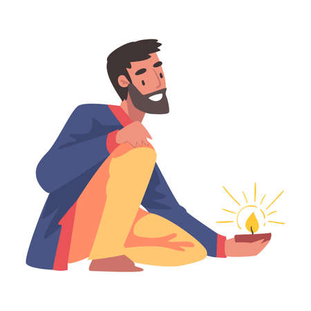 Cheerful Bearded Man in Traditional Indian Clothes with Candle in Candlestick, People Celebrating Diwali Hindu Holiday Light Festival Cartoon Style Vector Illustration