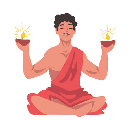 Indian Man with Glowing Candles in his Hands Meditating in Lotus Position, People Celebrating Diwali Hindu Holiday Light Festival Cartoon Style Vector Illustration