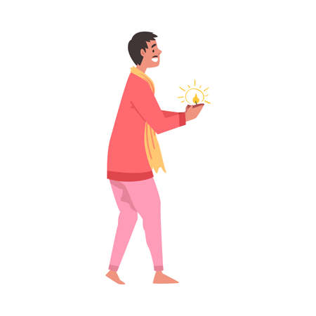 Indian Man in Traditional Clothes with Candle in His Hands, People Celebrating Diwali Hindu Holiday Light Festival Cartoon Style Vector Illustration Ilustracja