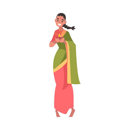 Beautiful Indian Woman in National Dress Standing with Candle in Candlestick, People Celebrating Diwali Hindu Holiday Light Festival Cartoon Style Vector Illustration