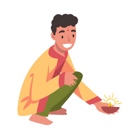 Cheerful Indian Man in Traditional Clothes with Glowing Candle in Candlestick, People Celebrating Diwali Hindu Holiday Cartoon Style Vector Illustration Ilustracja