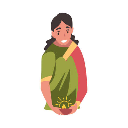 Indian Young Woman in Traditional Clothes with Candle in Candlestick, People Celebrating Diwali Hindu Holiday Cartoon Style Vector Illustration Ilustracja
