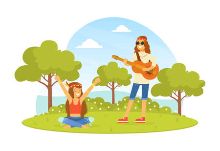 Hippie Characters on Summer Nature Landscape, Young Man Playing Guitar, Happy People Wearing Retro Clothes of the 60s and 70s Vector Illustration Ilustração