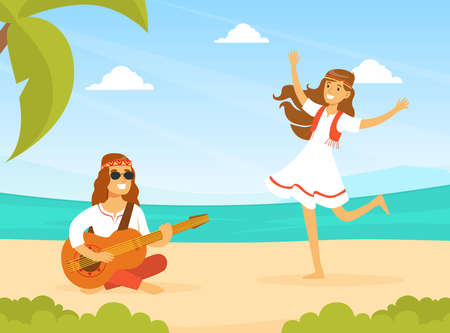 Hippie Characters, Young Man and Woman Playing Guitar and Dancing on Tropical Beach, Happy People Wearing Retro Clothes of the 60s and 70s Vector Illustration