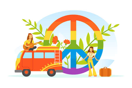Hippie Characters, Old Retro Classic Traveling Van and Rainbow Peace Symbol, Happy People Wearing Retro Clothes of the 60s and 70s Vector Illustration Ilustração