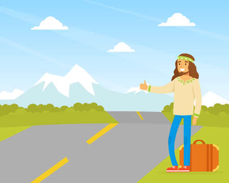 Hippie Man Character Hitchhiking, Man Wearing Retro Clothes of the 60s and 70s Traveling by Autostop Vector Illustration