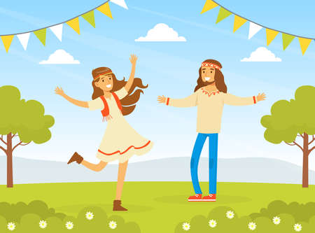 Hippie Characters, Young Man and Woman Dancing on Nature, Happy People Wearing Retro Clothes of the 60s and 70s Vector Illustration