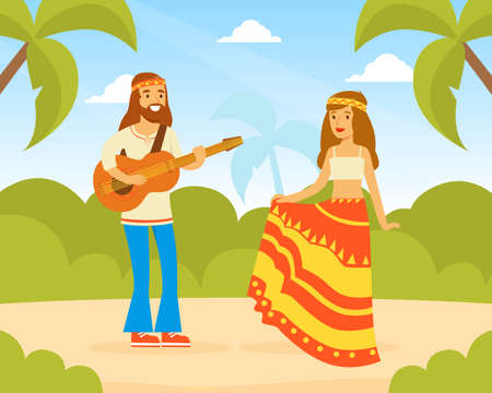 Hippie Characters, Young Man and Woman Playing Guitar and Dancing on Summer Landscape, Happy People Wearing Retro Clothes of the 60s and 70s Vector Illustration Ilustração