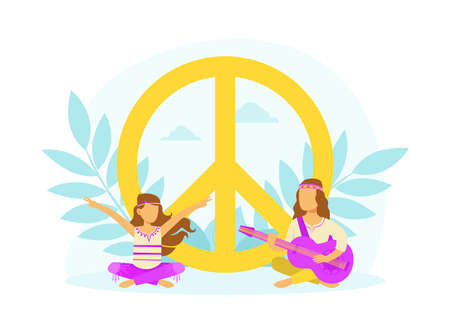 Hippie Characters Sitting in Meditation Pose at Peace Symbol, Happy People Wearing Retro Clothes of the 60s and 70s Playing Guitar Vector Illustration Ilustrace