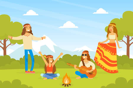 Hippie Characters, Group of Young Men and Women Playing Guitar and Dancing on on Nature, Happy People Wearing Retro Clothes of the 60s and 70s Vector Illustration