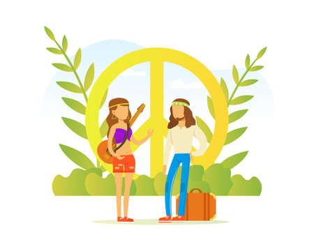 Hippie People Characters, Couple Wearing Retro Clothes of the 60s and 70s Standing at Peace Style Vector Illustration