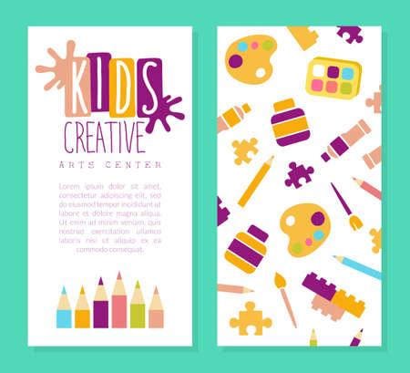 Creative Arts Center Business Card Template, Kids Education, Art, Craft, Creativity Class, School Design Cartoon Vector Illustration