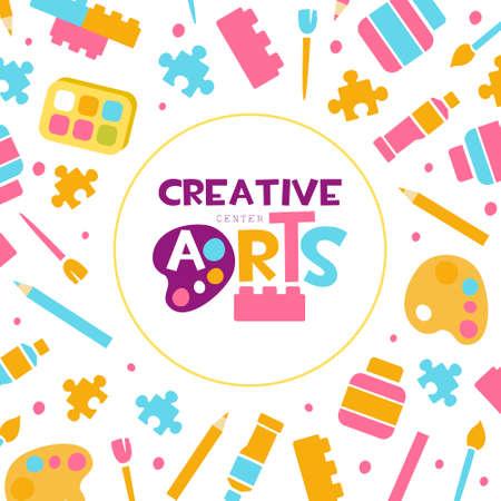 Creative Arts Banner Template, Kids Education, Art, Craft, Creativity Class, School Design, Art Supplies Seamless Pattern Cartoon Vector Illustration  イラスト・ベクター素材