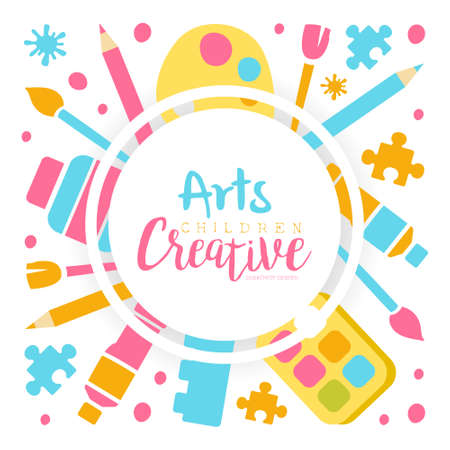 Arts Creative Banner Template, Kids Education, Art, Craft, Creativity Class, School Design Cartoon Vector Illustration
